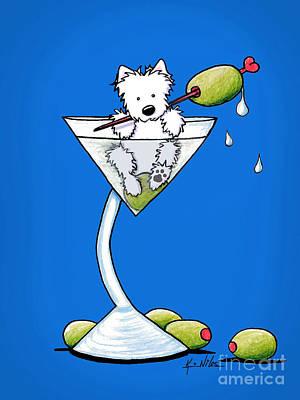 Cute Dog Mixed Media - Westie Olive Martini by Kim Niles