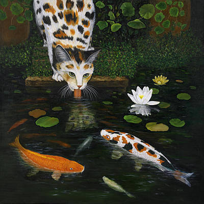 Humorous Cat Painting - Kinship by Karen Zuk Rosenblatt