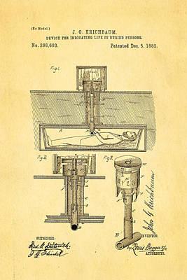 Odd Portrait Photograph - Kirchbaum Burial Life Detector Patent Art 1882 by Ian Monk