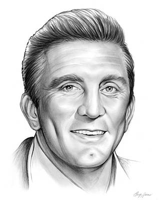 Movie Star Drawing - Kirk Douglas by Greg Joens