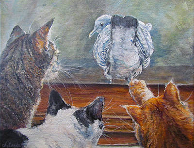 Humorous Cat Painting - Kiss My Assssssss by Donna Tucker