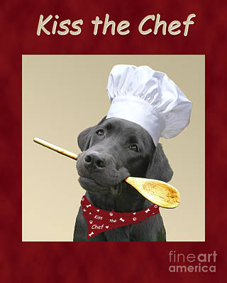 Lab Digital Art - Kiss The Chef by Amy Reges