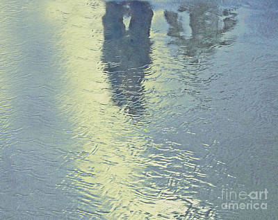 Kissing Couple With Palm Reflection Print by Cindy Lee Longhini
