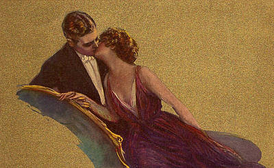 Chaise Digital Art - Kissing On The Chaise-longue Valentine by Sarah Vernon
