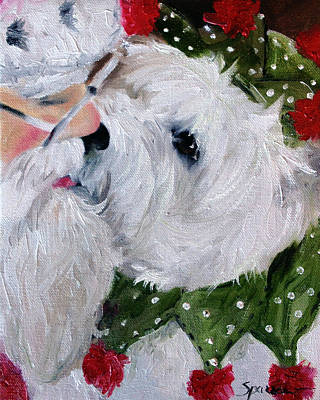 Westie Painting - Kissing Santa by Mary Sparrow