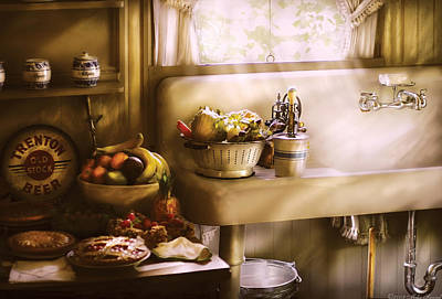 Kitchen - A 1930's Kitchen  Print by Mike Savad