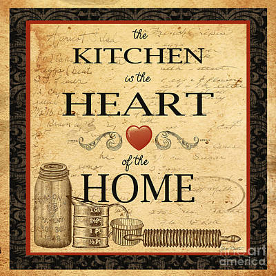 Kitchen Is The Heart Print by Jean Plout