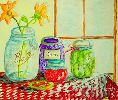 Checked Tablecloths Mixed Media - Kitchen Light Dancing by Eloise Schneider