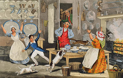 Humorous Cat Painting - Kitchen Scene by Henry Thomas Alken