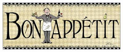 Kitchen Sign-bon Appetit Print by Shari Warren
