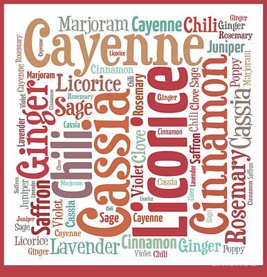 Licorice Digital Art - Kitchen Spices Word Art by Anne Kitzman