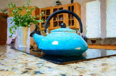 Kitchen Tea Pot Print by Adele Buttolph