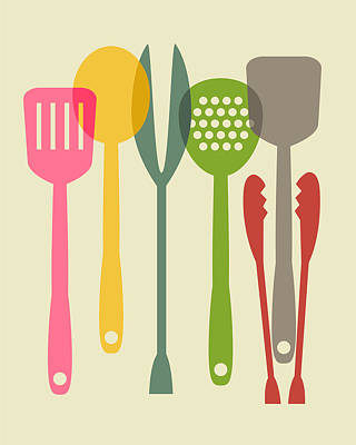 Kitchen Tools Print by Ramneek Narang
