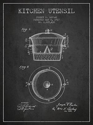 Kitchen Utensil Patent From 1917 - Dark Print by Aged Pixel