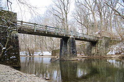 Kitchens Lane Bridge - Wissahickon Creek Print by Bill Cannon
