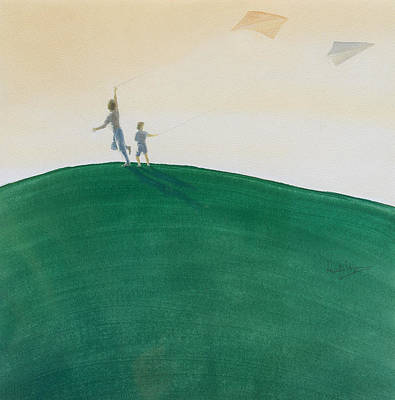 Kids Flying Kite Painting - Kite Flying by Lincoln Seligman