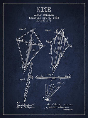 Kites Drawing - Kite Patent From 1892 by Aged Pixel