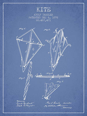 Kites Drawing - Kite Patent From 1892 - Light Blue by Aged Pixel