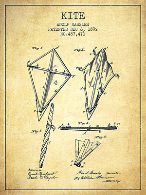 Kites Drawing - Kite Patent From 1892 - Vintage by Aged Pixel