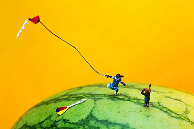 Watermelon Digital Art - Kite Runner On Watermelon by Paul Ge