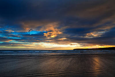 Kite Surfers On Tramore Beach Print by Panoramic Images