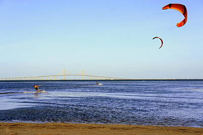 Kite Surfing Print by Laurie Perry