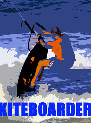 Kite Boarding Painting - Kiteboarder Blue Smartphone  by David Lee Thompson