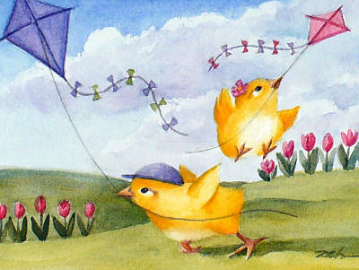 Kids Flying Kite Painting - Kites In March by Janet  Zeh
