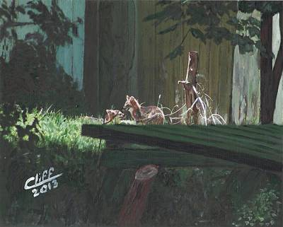 Fox Kit Painting - Kits In The Sun by Cliff Wilson