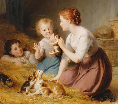 Maternity Painting - Kittens by Fritz Zuber-Buhler