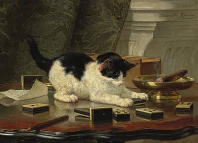 Henriette Ronner-knip Painting - Kittens Game by Henriette Ronner-Knip