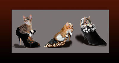 Digital Altered Painting - Kittens In Designer Ladies Shoes by Regina Femrite