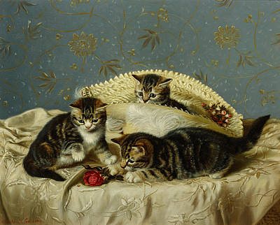 Bed Painting - Kittens Up To Mischief by HH Couldery