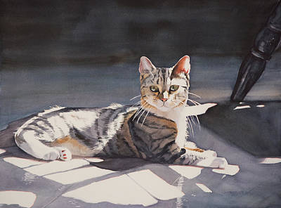 Watercolor Painting - Kitty by Christopher Reid