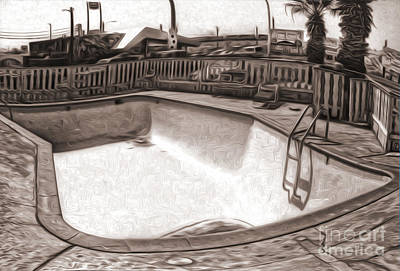 Kiva Motel -  Empty Pool Print by Gregory Dyer