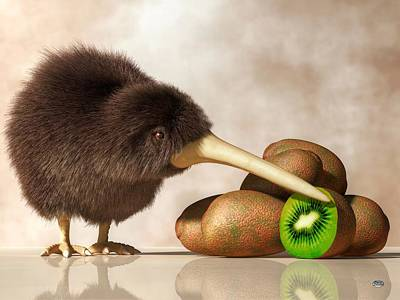 Fuzzy Digital Art - Kiwi Bird And Kiwifruit by Daniel Eskridge