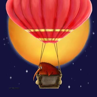 Kiwi Digital Art - Kiwi Bird Kev. Fly Me To The Moon by Marlene Watson