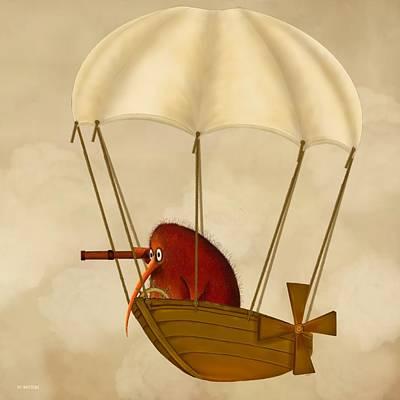 Kiwi Digital Art - Kiwi Bird Kev's Airship by Marlene Watson