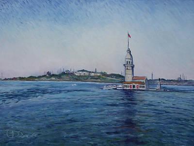 Painting - Kiz Kulezi Leander's Tower Istanbul Turkey by Enver Larney