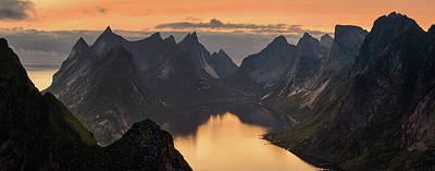 Sunset In Norway Photograph - Kjerkfjorden Among Dramatic Mountain by Panoramic Images