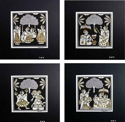 Gallerie Ak Painting - Kjoshi 03 Set Of 4 by Kalyan Joshi