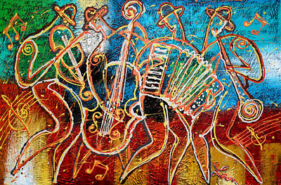 Saxophone Painting - Klezmer Music Band by Leon Zernitsky