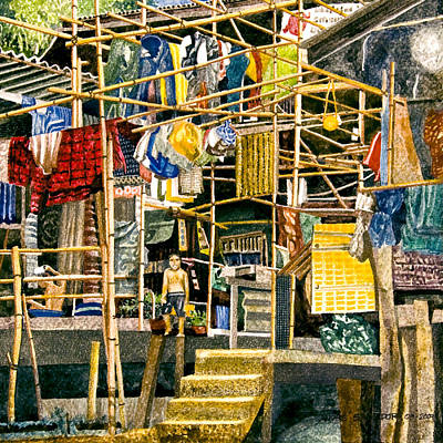 Bamboo House Painting - Klong House by Andre Salvador