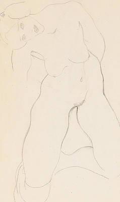 Kneeling Female Nude Print by Egon Schiele