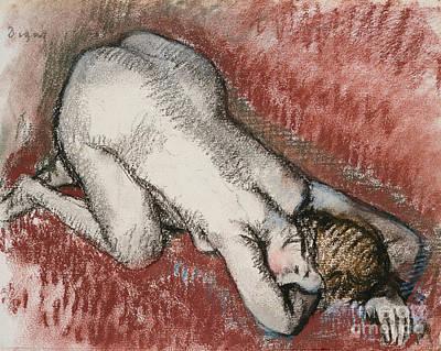 Kneeling Nude Woman Print by Edgar Degas