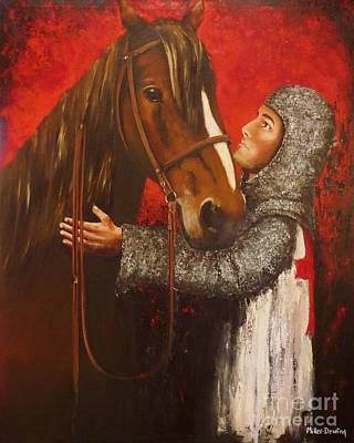 Knight And Horse Original by Kaye Miller-Dewing