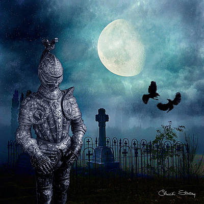 Birds In Graveyard Photograph - Knight In The Cemetery by Chuck Staley