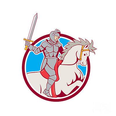 Knight Riding Horse Sword Circle Cartoon Print by Aloysius Patrimonio