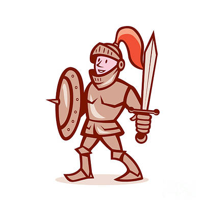 Knight Shield Sword Cartoon Print by Aloysius Patrimonio