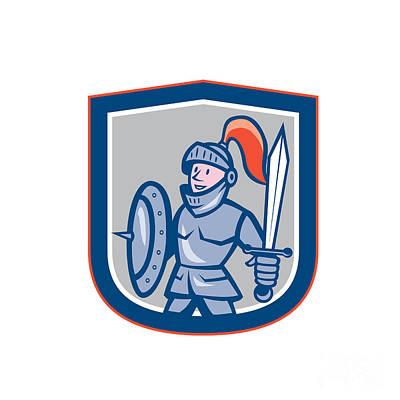 Knight Shield Sword Shield Cartoon Print by Aloysius Patrimonio